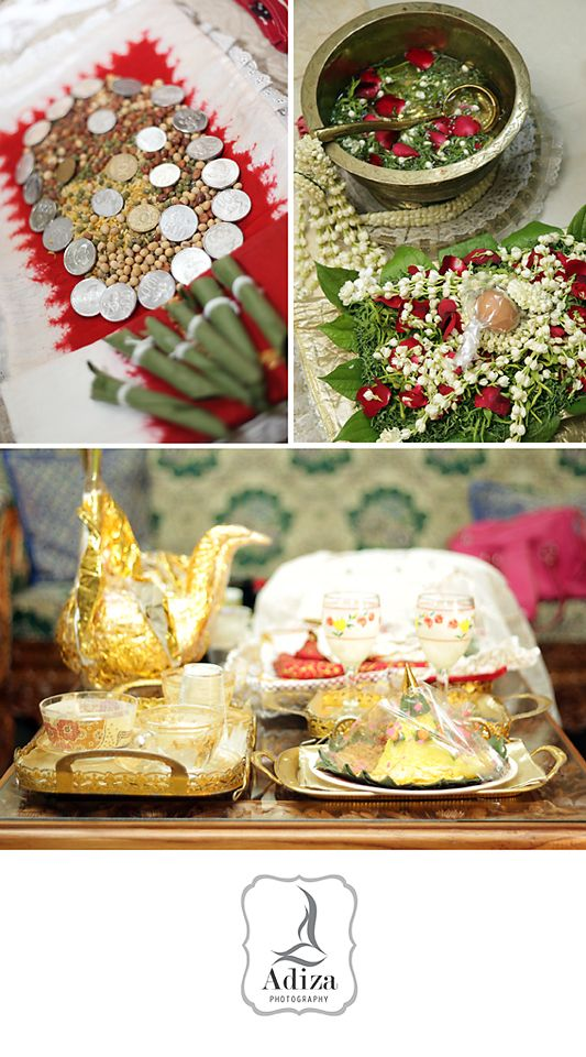 Panggih apparel. They are Sirih, rose petals, jasmine, coins, peanuts, egg, coconut, tumpeng. Panggih mean meet in javanese language.