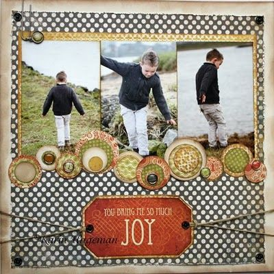 Lovely boys layout with dotty background and a layered circle border in greytones and natural colours.