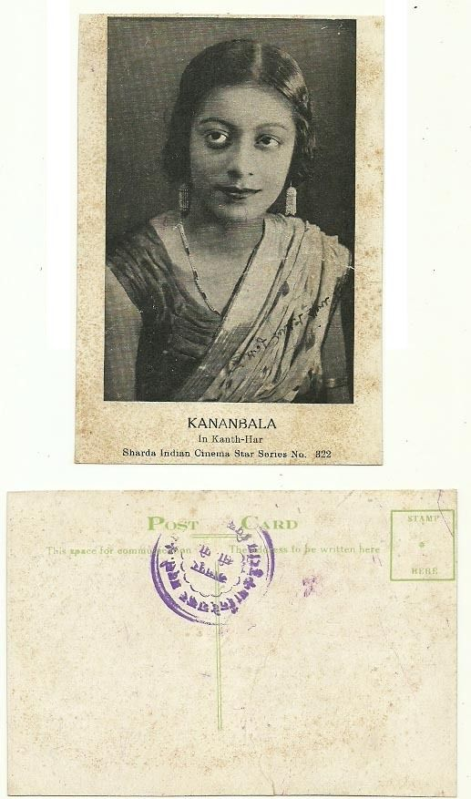 Indian Movie Actress Kananbala in Kanth-Har - Vintage Post Card - Old Indian Photos