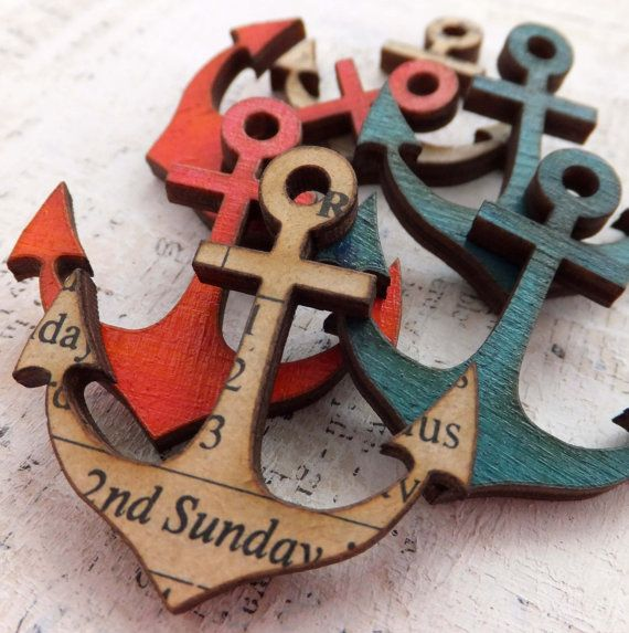 6 Wood ANCHOR CHARMS  Red Blue and White by ARTchixStudio on Etsy, $10.00