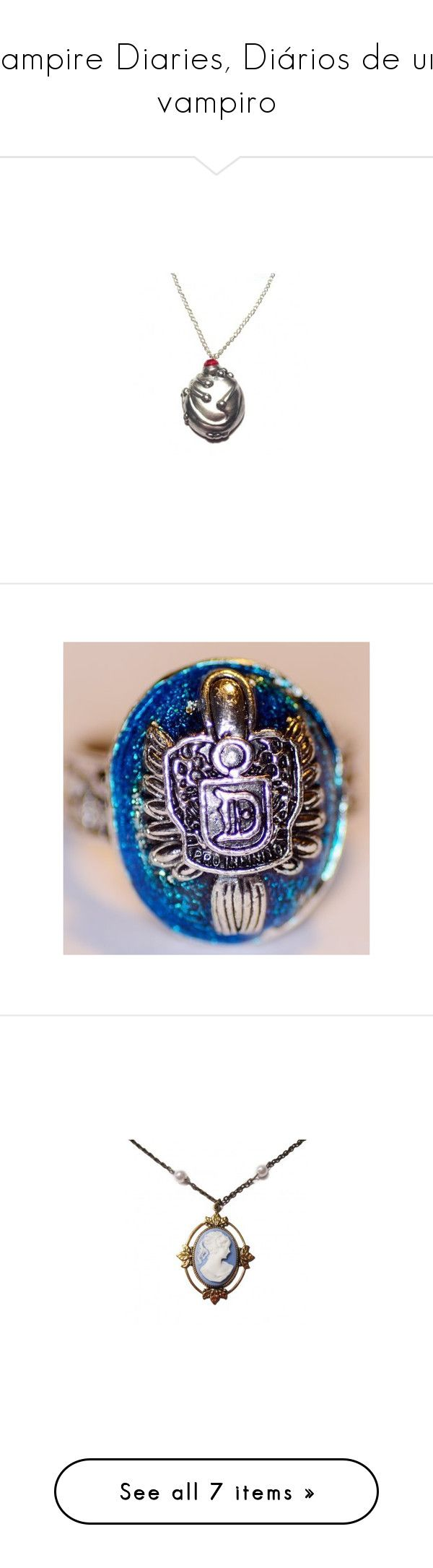 """""""Vampire Diaries, Diários de um vampiro"""" by carolzinha1232 ❤ liked on Polyvore featuring necklaces, jewelry, accessories, vampire diaries, tvd, rings, colares, jóias, star jewelry and star necklace"""