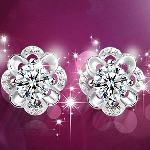 HOT! Women's   Rhinestone Hollow Flower Ear Studs Earrings C8II