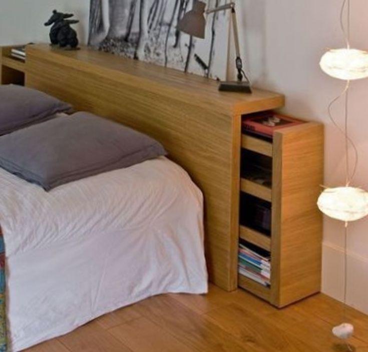 Lit adulte avec tete de lit rangement chambre pinterest - Lit 140x200 avec rangement ...