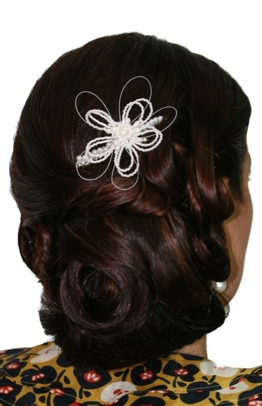 Handmade swarovski crystal pearl flower hair comb/ hair piece. Perfect for bride wedding, bridesmaid or formal.  www.redki.com.au Hair by Ultimate Bridal, Hair piece and jewellery by Redki Wearable Art.