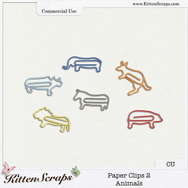 Paper Clips 2-Animals {CU} CU Product by KittenScraps, Digital Scrapbooking,