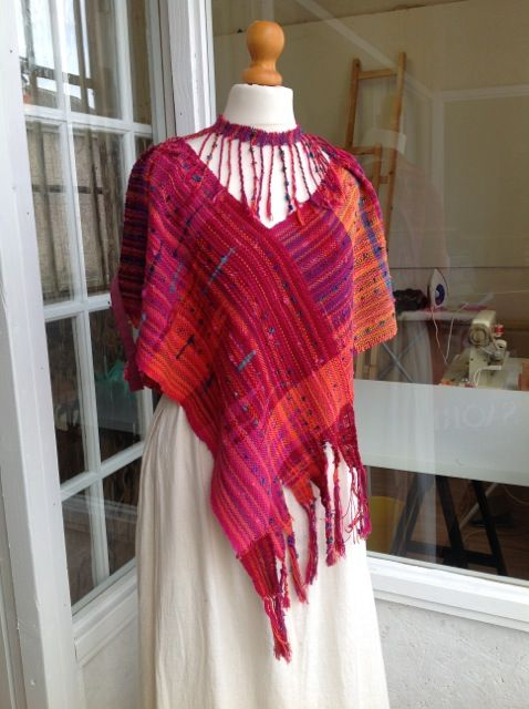 poncho woven as result of a 'warp swap' with Saorinomori, Japan.