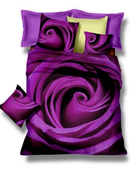 Posteľné obliečky z mikrovlákna fialovej farby s kvetom