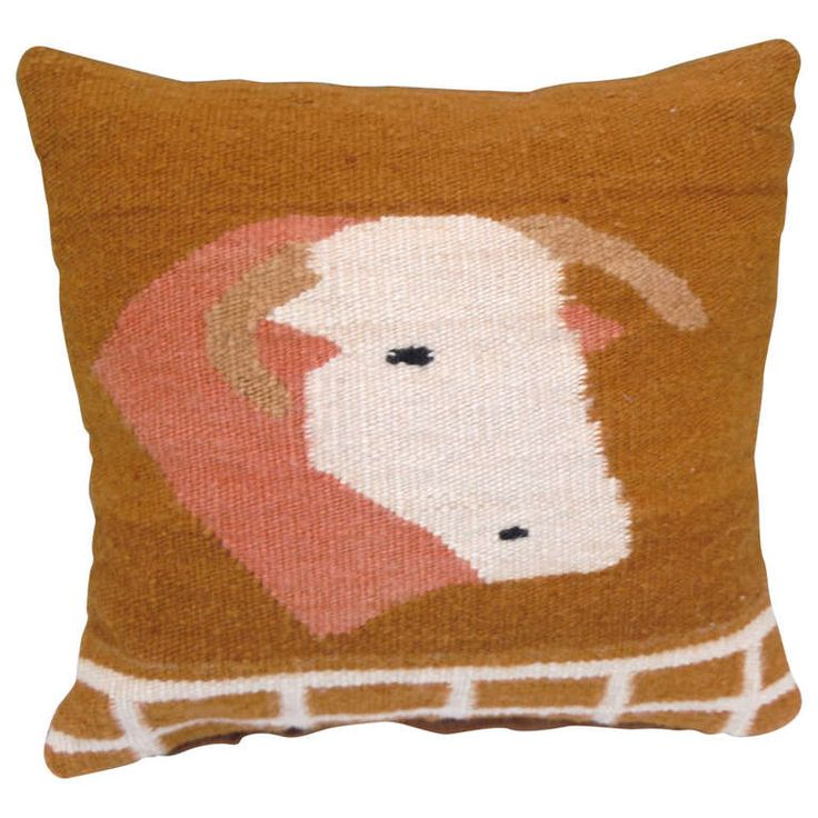 19th Century Pictoral Navajo Woven Pillow with Image of Cow | From a unique collection of antique and modern native american objects at http://www.1stdibs.com/furniture/folk-art/native-american-objects/