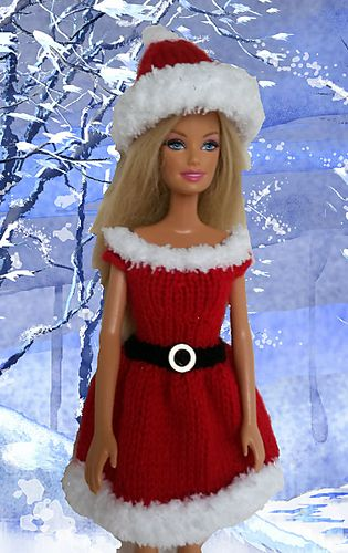 A cute little Santa outfit for Barbie made in one piece with a back seam.