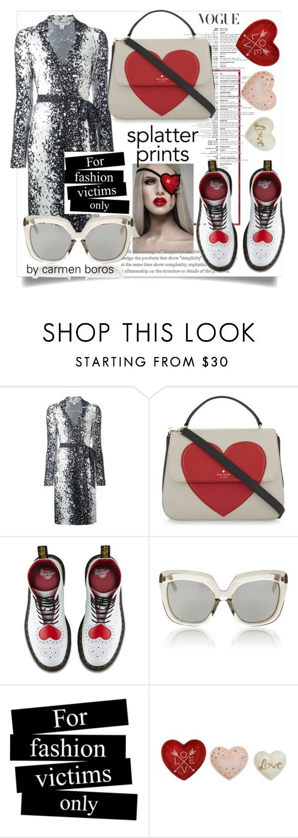 """splatter prins & hearts"" by boroscarmen ❤ liked on Polyvore featuring Diane Von Furstenberg, Kate Spade, Dr. Martens and Linda Farrow"