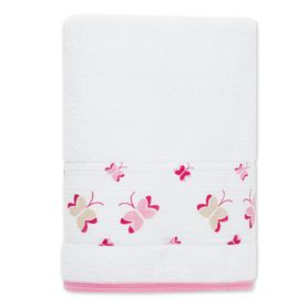 Our princess posie pink butterfly terry toddler towel is oh-so soft and snugly after bath time.