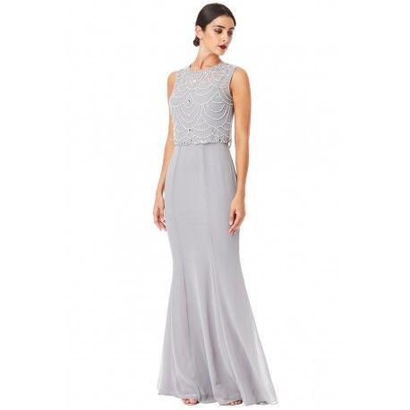 Ekskluzywna szara sukienka z szyfonu z topem ozdobionym kamieniami