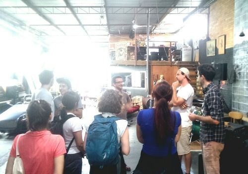 QCA product design students enjoying the design studio tours of Ellaspede and Holloway. This image, Holloway workshop in West End.