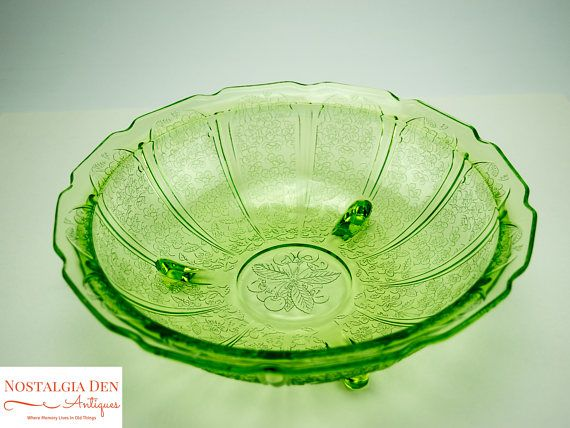 Green Depression Glass Fruit Bowl  Jeanette Glass Co  Cherry
