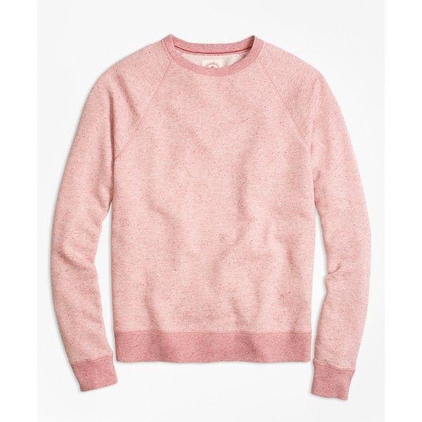 Brooks Brothers Heathered Raglan Crewneck Sweatshirt (245 BRL) ❤ liked on Polyvore featuring men's fashion, men's clothing, men's hoodies, men's sweatshirts, pink, mens crewneck sweatshirts and mens crew neck sweatshirts