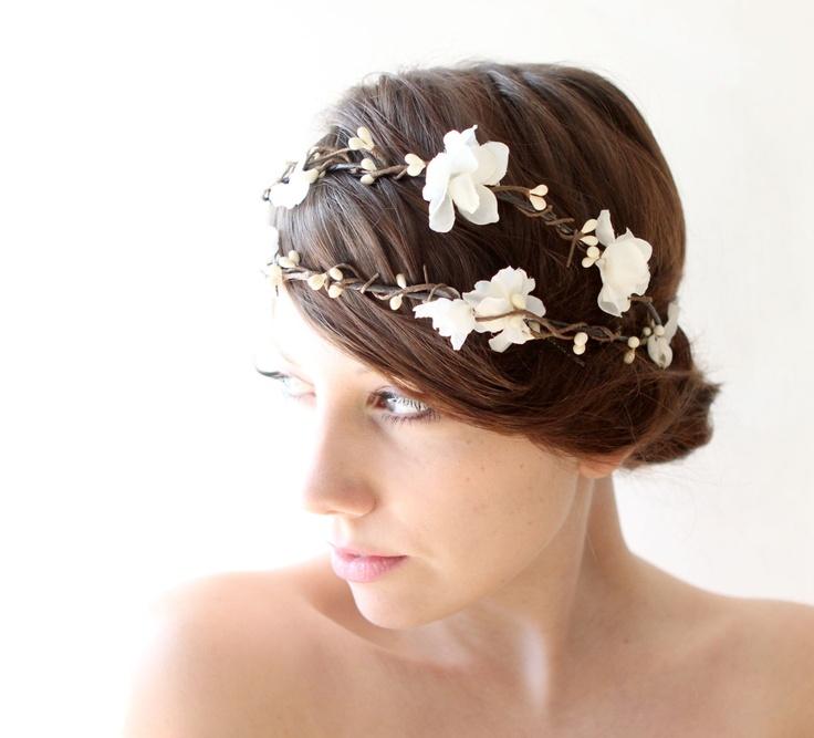 bridal head piece white flower crown woodland wedding