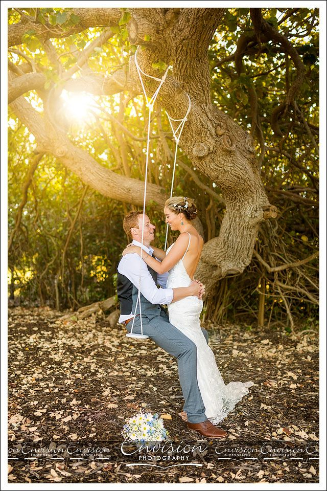 Props on your wedding day can be so much fun! Reychelle and Ryan brought along their own love swing :)