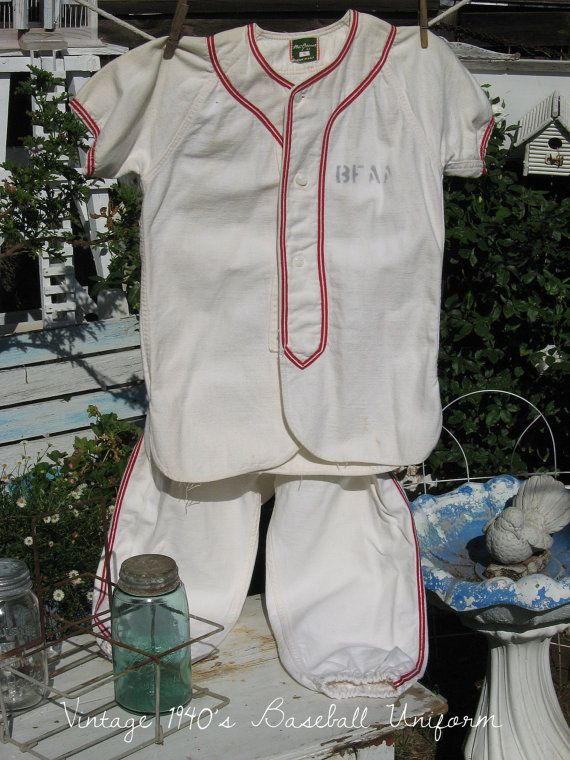 Vintage Boys Baseball Uniform - LittleLeague - 1940s - 1950s - Brookhart Building Center - Cotton Flannel - Fathers Day
