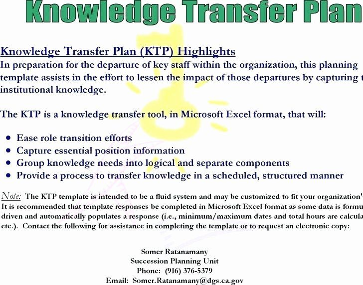Knowledge Transition Plan Template Inspirational Knowledge