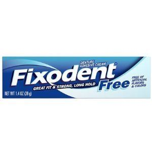 Fixodent Free Dental Adhesive Cream 1.4 oz. (Pack of 6). Denture Adhesive Cream. Free of artificial flavors and colors. Use once a day for all day hold.