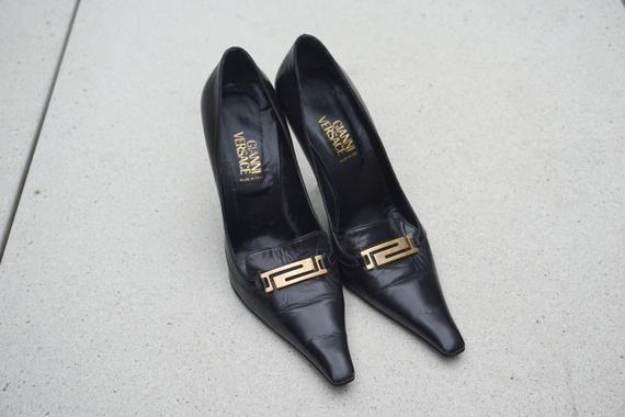 Vintage 90s Gianni Versace Authentic Black Leather High Heels Etsy In 2020 Leather High Heels Versace Heels Versace Shoes