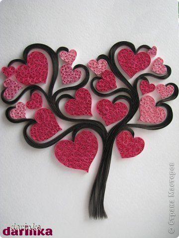 """Картина, панно, рисунок Квиллинг: """"Сердечное"""" дерево Бумажные полосы, Клей. Фото 1"""