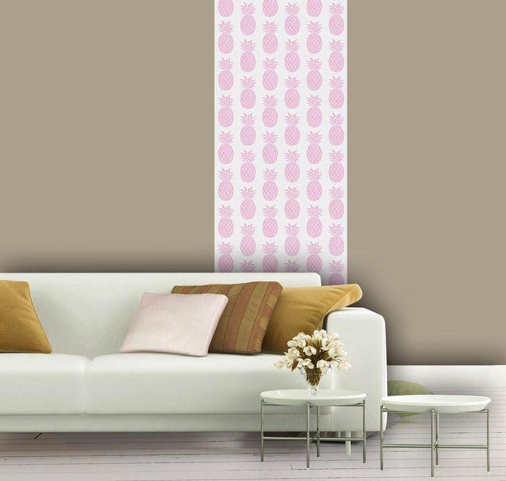Décorez votre intérieur avec ce lé unique de papier peint motif ananas rose à coller sur tous les murs de votre maison papier peint fabriqué en france