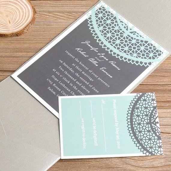 Mint Invitations Wedding: Mint Green Lace Silver Pocket Wedding Invitations EWPI034