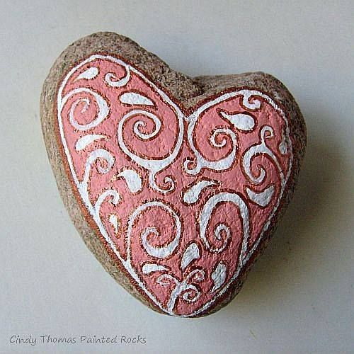 Heart shaped painted rock