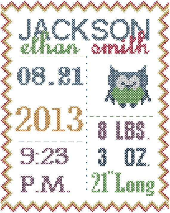 Counted Cross Stitch Birth Announcement in by oneofakindbabydesign, $12.95