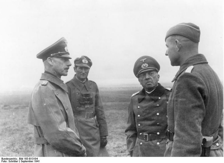 Field Marshals von Leeb (left) and von Küchler (short man) on the Eastern Front in Sept 1941. The German thrust against Moscow is still under way, but the first signs of trouble are beginning to appear, especially concerning supplies, fuels and ammunition.