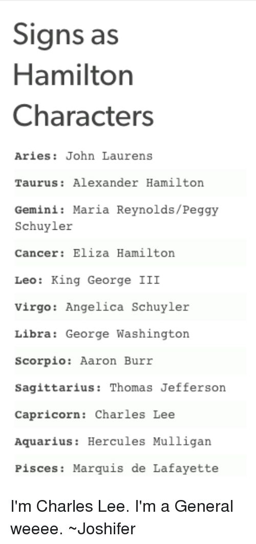 Image result for signs as hamilton characters