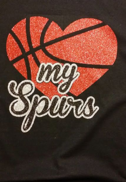 San Antonio Spurs- Heart My Spurs Glitter t shirt Like me on Facebook for more custom designs! https://www.facebook.com/tinascustomtees
