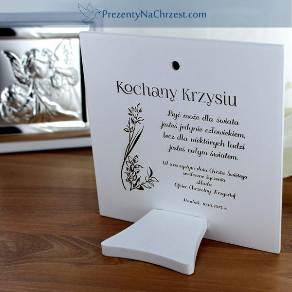 Obrazek z dedykacją i wizerunkiem anioła stróża może pięknie zdobić półkę w pokoju dziecięcym :) http://bit.ly/1LhBeUA
