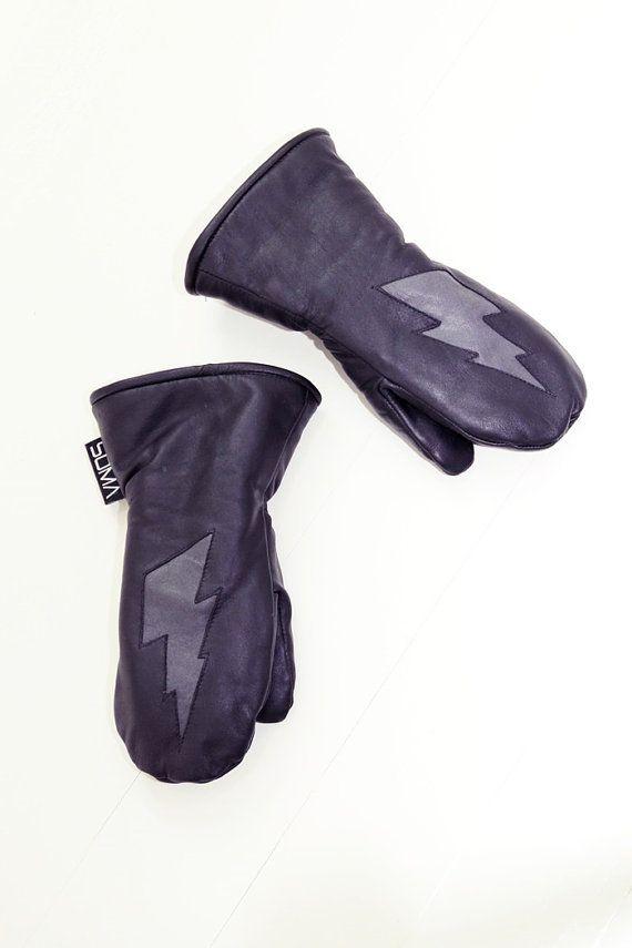 Childrens superhero leather mittens  Black/ Grey by somaoriginal