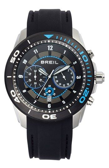 Breil 'Edge' Chronograph Silicone Strap Watch, 47mm | Nordstrom
