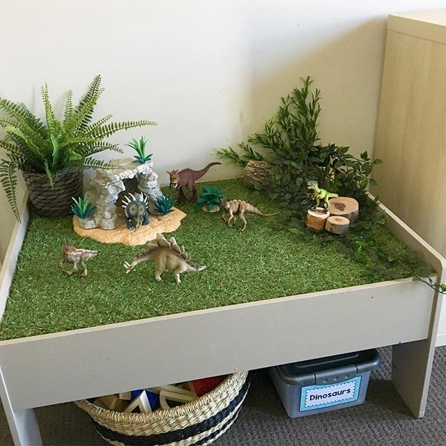 Here we are again with another #llltraintablehack - this time we're doing another dinosaur small world! This is our @kmartaus train table which I hacked to turn into a dinosaur small world! You can read the link in my bio for full instructions. It's my favourite spot to set up little invitations for my two little ones! Tap the image to see where all our goodies were sourced