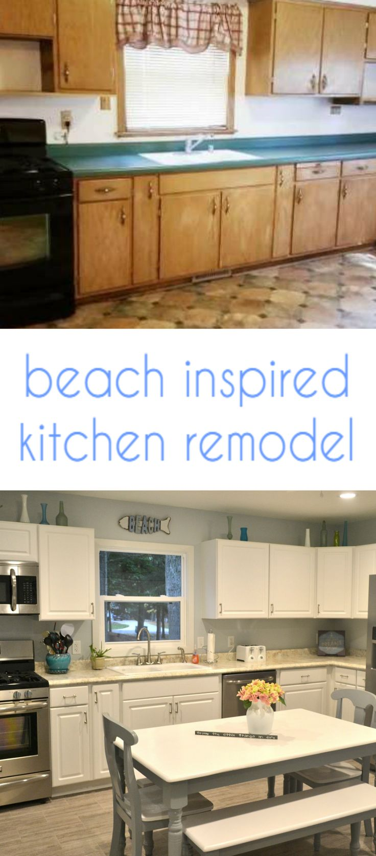 Wow!  What a difference!  DIY  white coastal kitchen remodel.  I love the white and gray with a touch of soft blue.  #diyhomedecor #coastal #kitchenremodel #whitekitchen