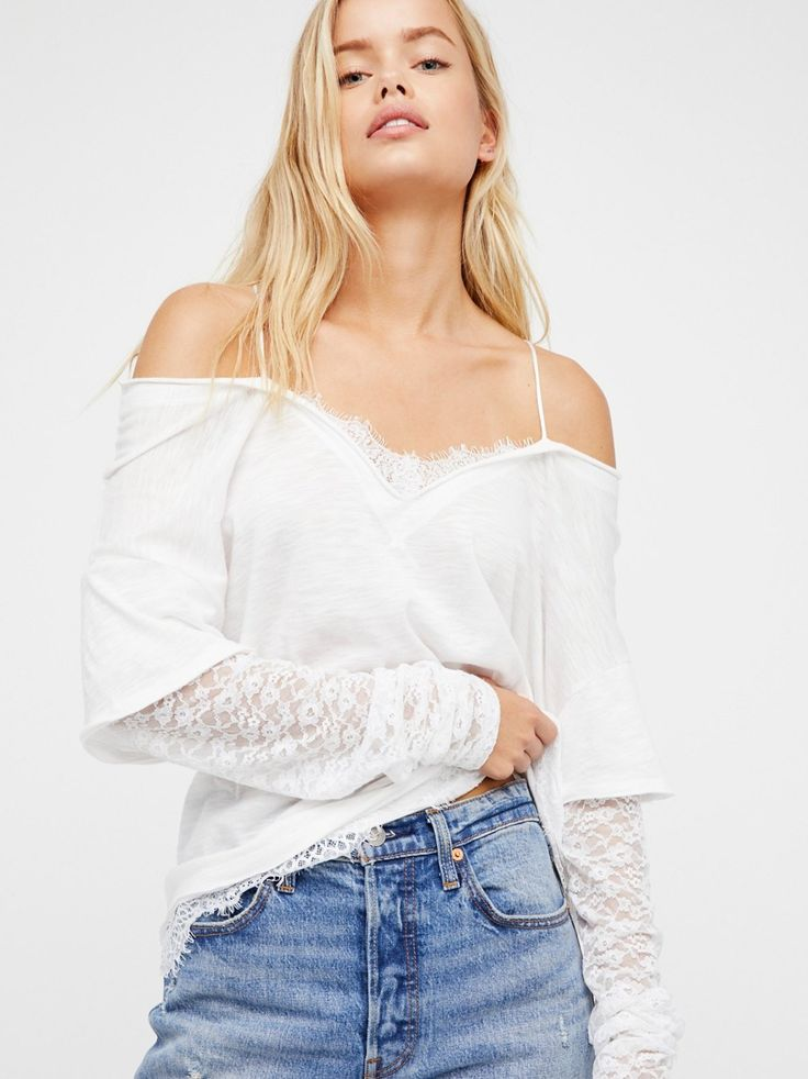 We The Free Salena Lace Two-Fer | Beautiful with a layered look, this two-fer top features slouchy cold-shoulder details with delicate lace peeking out for an irresistibly effortless style.    * Back button closures * Unfinished edges