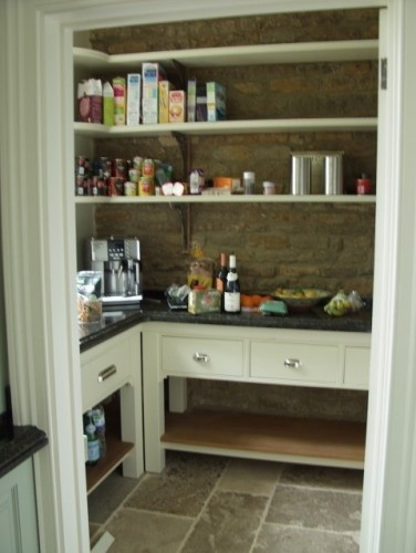 i like the open shelving above and below the counter.Open Shelves, Stones Wall, Pantries Design, Pantries Ideas, Pantry Design, Kitchens Pantries, Kitchens Cabinets, Traditional Entry, Britannia Joinery