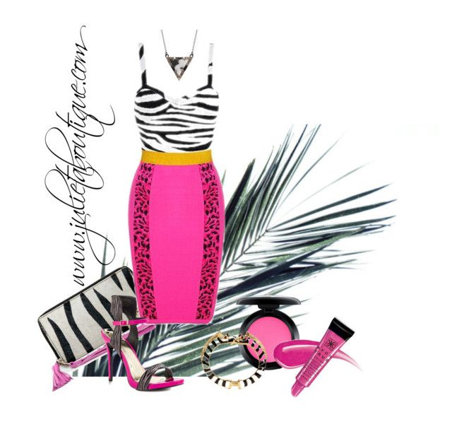 """""""Zebra Pink bandage dress"""" by julietaboutique on Polyvore featuring Lust For Life, MAC Cosmetics, Kenneth Jay Lane, ADORNIA and Avon"""