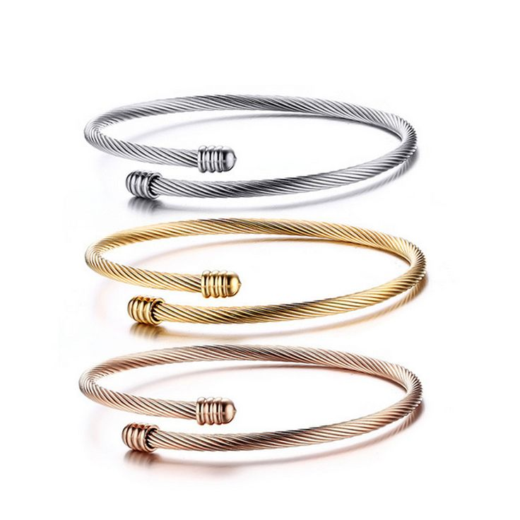 3Pcs/Set Women's Delicate Three Tones Stainless Steel Cable Wire Bangle Bracelet