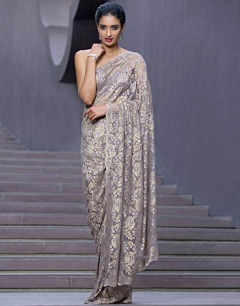 Chantilly Lace Saree Embellished With Swarovski By Meena Bazaar