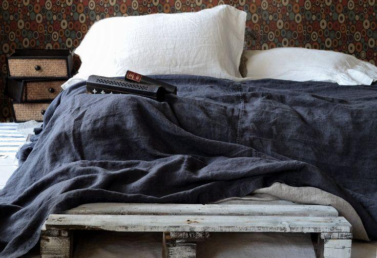Peppercorn Dark Grey Heavy Weight Linen Bed Cover Linen