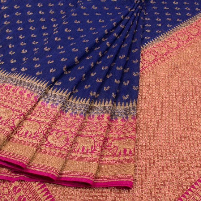 Handwoven Blue Banarasi Katrua Muga silk Saree With Peacock Motifs 10018405 - AVISHYA.COM