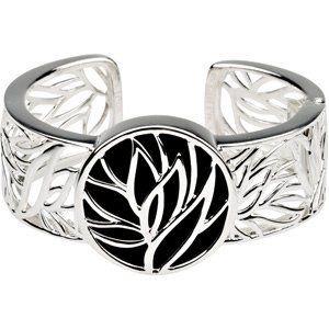 Sterling Silver Genuine Onyx Hinged Cuff Bracelet 32x32mm - JewelryWeb JewelryWeb. $405.60. Save 50% Off!
