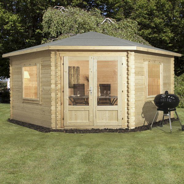 This Log Cabin is designed to take up the empty corner space in your garden and turn it into practical space. The Home Essence range of log cabins can used as a hobby room, home gym, home office or even an additional space for entertaining during the warm summer months. This cabin is supplied with 2 double glazed opening windows and double glazed single door along with thick interlocking tongue and groove timbers manufactured from FSC certified high quality softwood. Pressure treated floor…