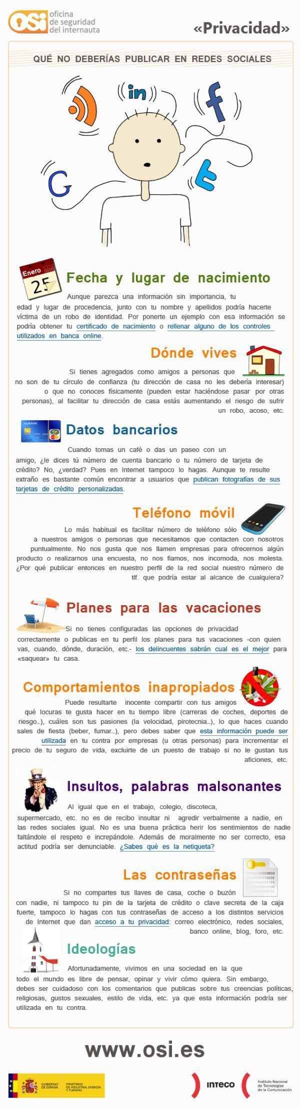 Lo que nunca deberías publicar en Redes Sociales. #Infografía en español