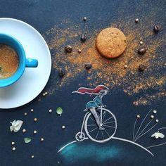Художница-иллюстратор из Италии Синция Болонези (Cinzia Bolognesi) создает работы прямо за завтраком. Однажды она поставила свою чашку кофе с печеньем на черный холст, с которым обычно работает, и вдруг поняла, что к утреннему натюрморту не хватает немного рисованных линий. Так начался ее проект, красивый, элегантный и аппетитный одновременно