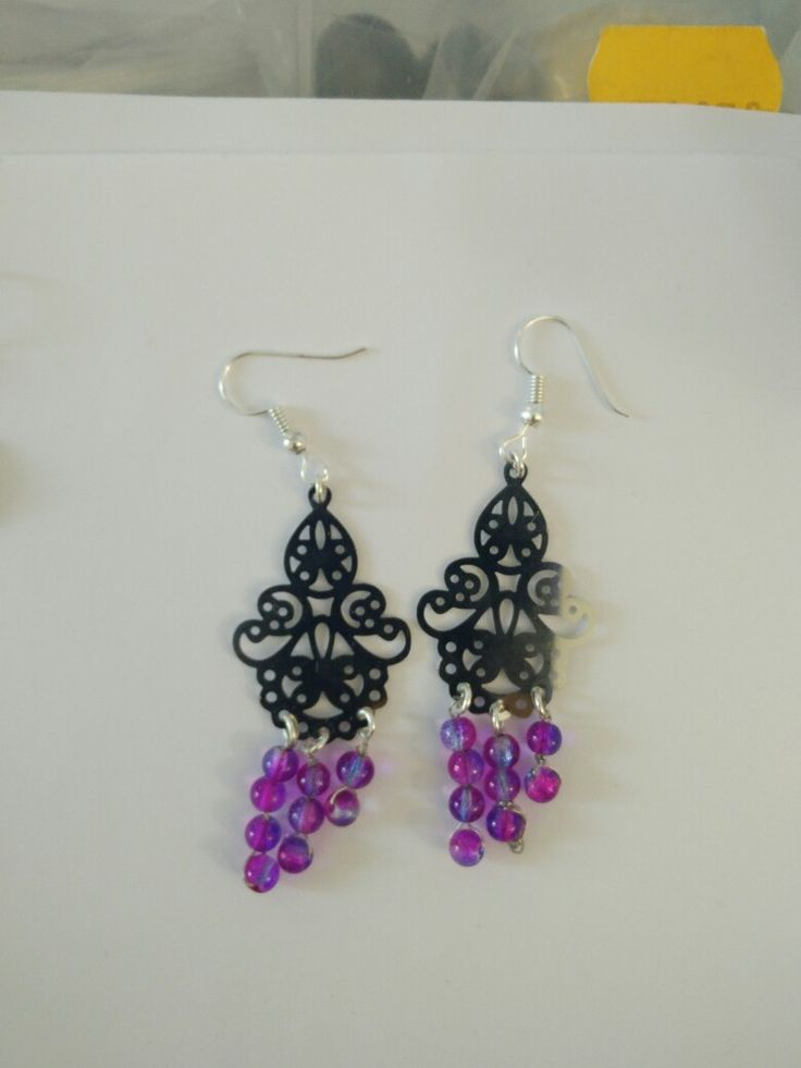 Boucles d'oreille perles bicolore violette et rose #diy #french #earring